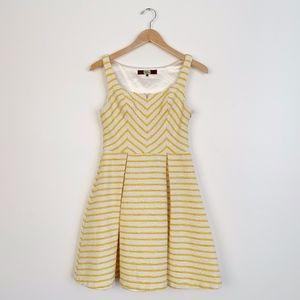 Eva Franco Yellow Striped Chevron Dress